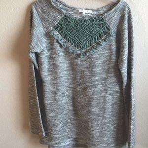 Anthropologie Entro Green Boho Tassel Sweater Top